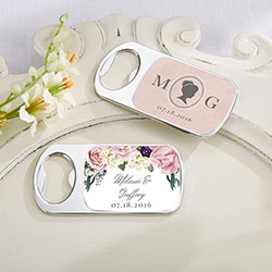 Personalized Silver Bottle Opener with Epoxy Dome - English Garden