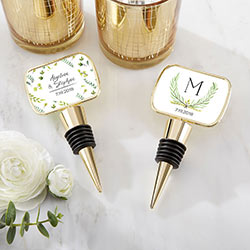 Personalized Gold Bottle Stopper with Epoxy Dome - Botanical Garden