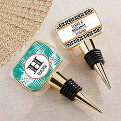 Personalized Tropical Chic Gold Bottle Stopper with Epoxy Dome