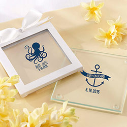 Personalized Glass Coasters- Kates Nautical Baby Shower Collection (Set of 12)