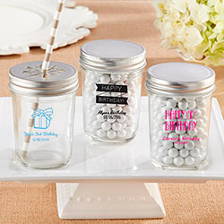 Personalized Printed Glass Mason Jar - Birthday (Set of 12)