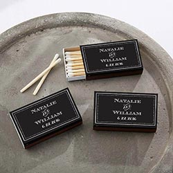 Personalized Black Matchboxes - Chalk (Set of 50)