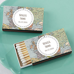 Personalized Black Matchboxes - Travel (Set of 50)