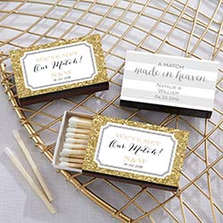 Personalized Black Matchboxes - Wedding (Set of 50)