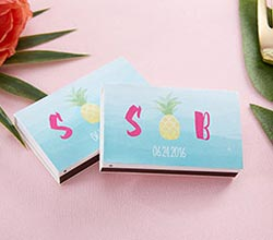 Personalized White Matchboxes - Pineapples and Palms (Set of 50)