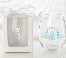 Personalized 9 oz. Stemless Wine Glass - Ethereal