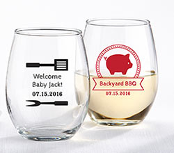 Personalized 9 oz. Stemless Wine Glass - BBQ