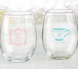 Personalized 9 oz. Stemless Wine Glass - Tea Time