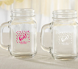 Personalized 16 oz. Mason Jar Mug - Its a Girl!