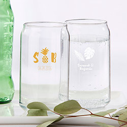 Personalized 16 oz. Beer Can Glass - Pineapples and Palms