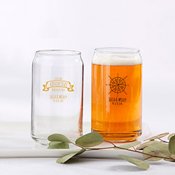 Personalized 16 oz. Beer Can Glass - Travel and Adventure