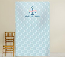 Personalized Photo Backdrop - Kates Nautical Baby Shower Collection - Nautical Rope